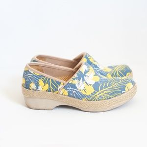 *dansko* vegan jute canvas floral clogs size 36